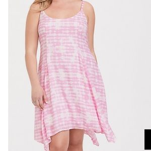 Pink tie-dye challis dress